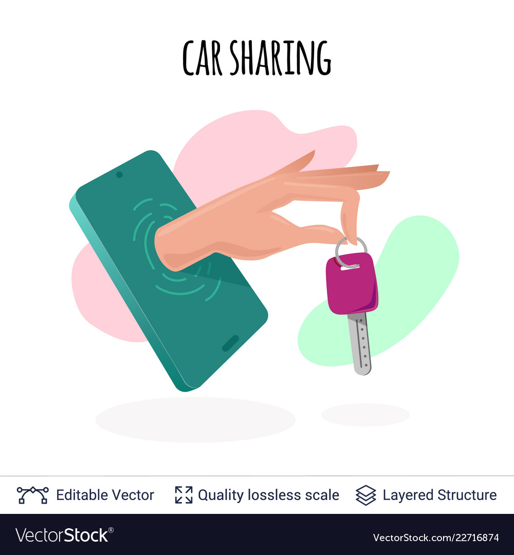 Car sharing mobile app icon concept