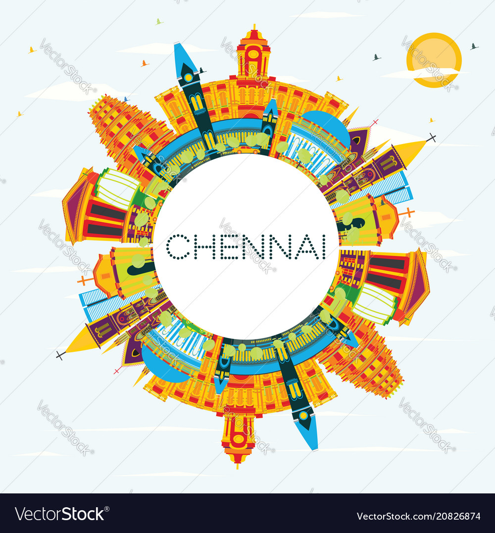 Chennai india skyline with color landmarks blue