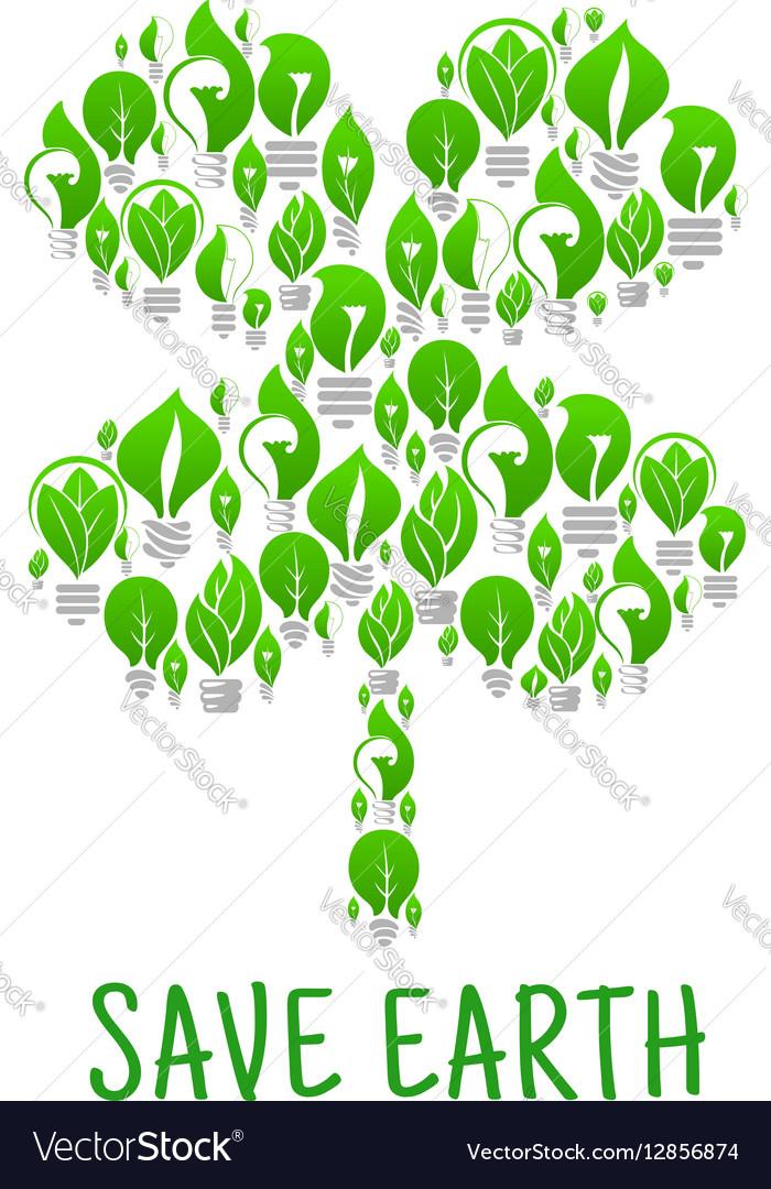 Clover leaf made of lightbulbs