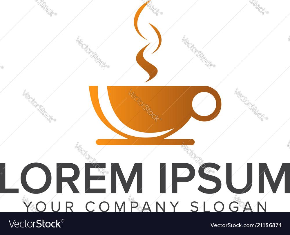 Coffe drink logo design concept template