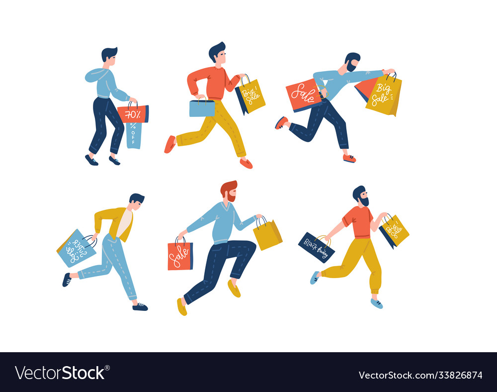 Collection male people carrying shopping bags