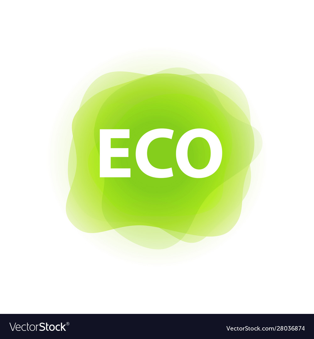 Eco label tag green color isolated on white