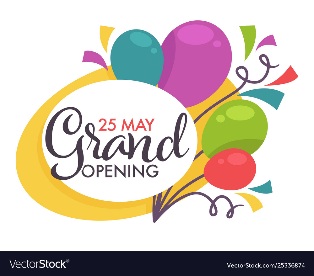 Grand opening isolated icon balloons start or