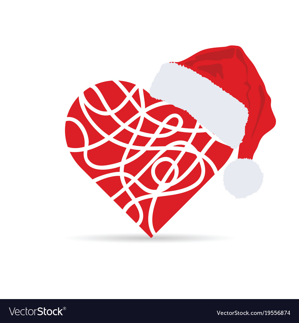 Christmas Heart Vector.Heart With Christmas Hat