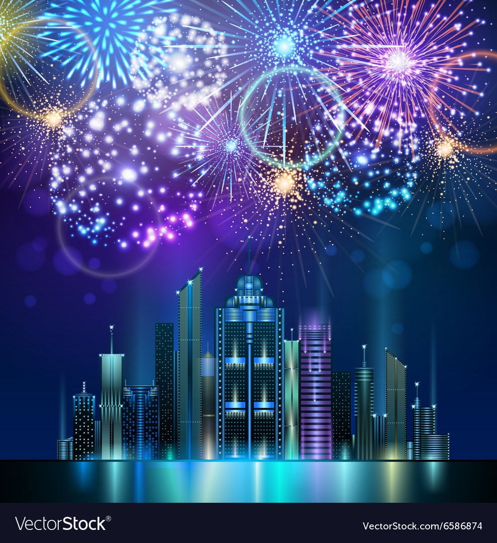 Holiday firework and night city