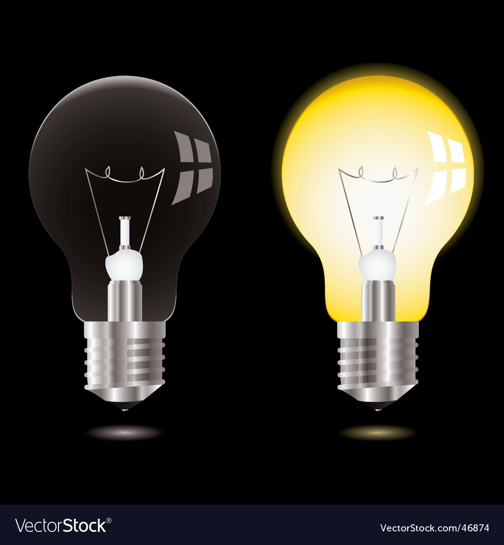 Light bulb on off Royalty Free Vector Image - VectorStock