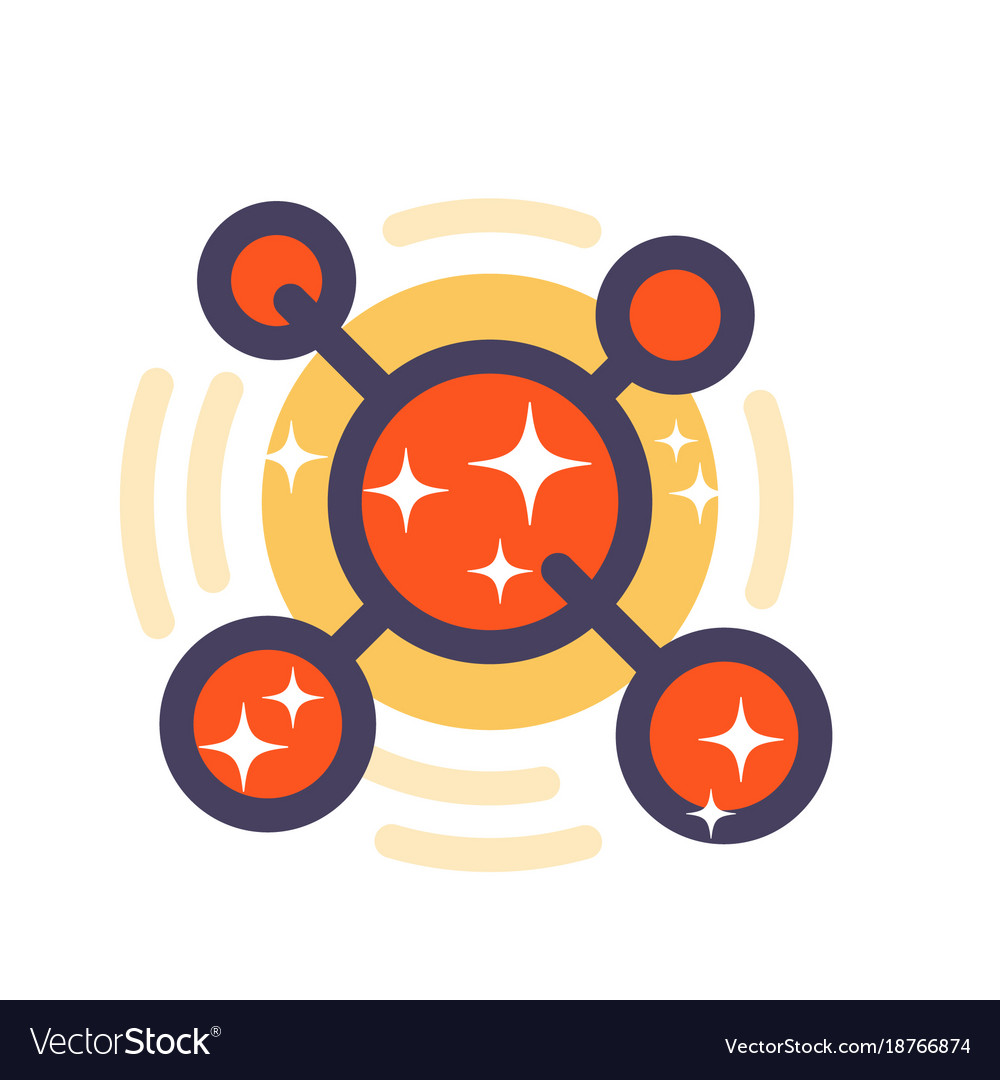 Molecule icon in flat style with outline