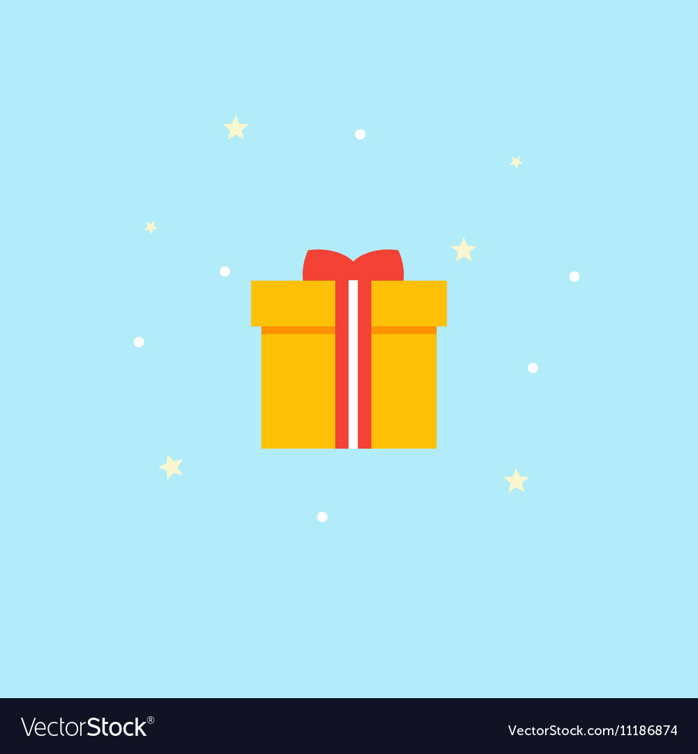 New Years gift - Icon Yellow box with red vector image