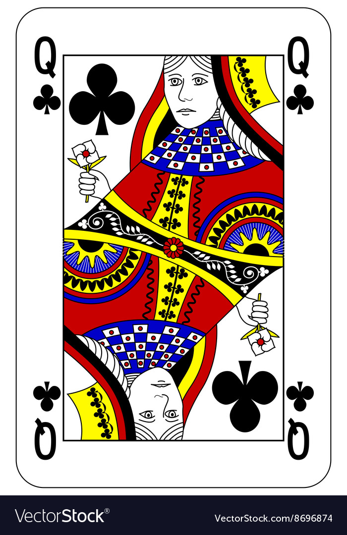 Poker playing card Queen club
