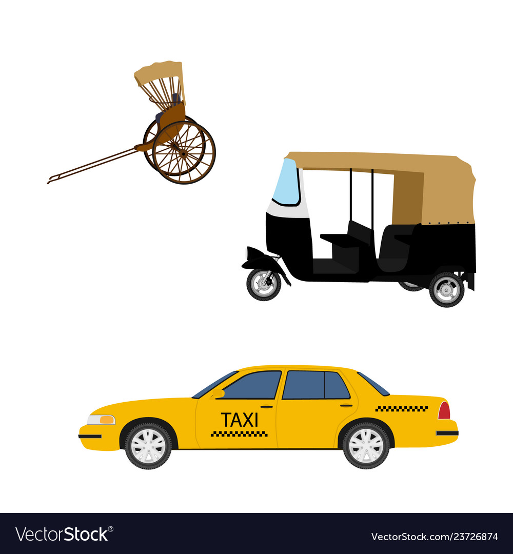 Taxi cab icon set yellow taxi hand pulled