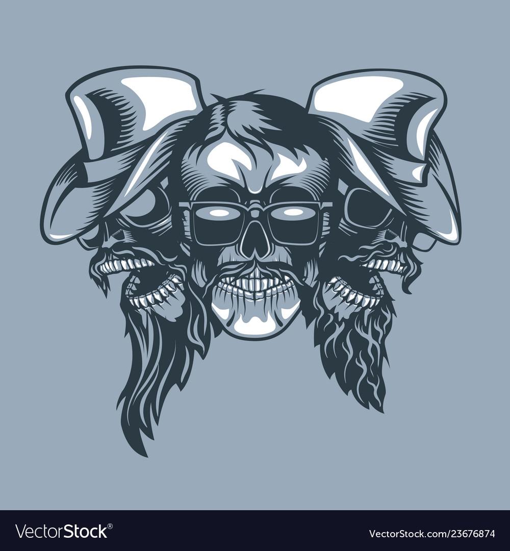 Three skulls bearded band monochromic tattoo Vector Image