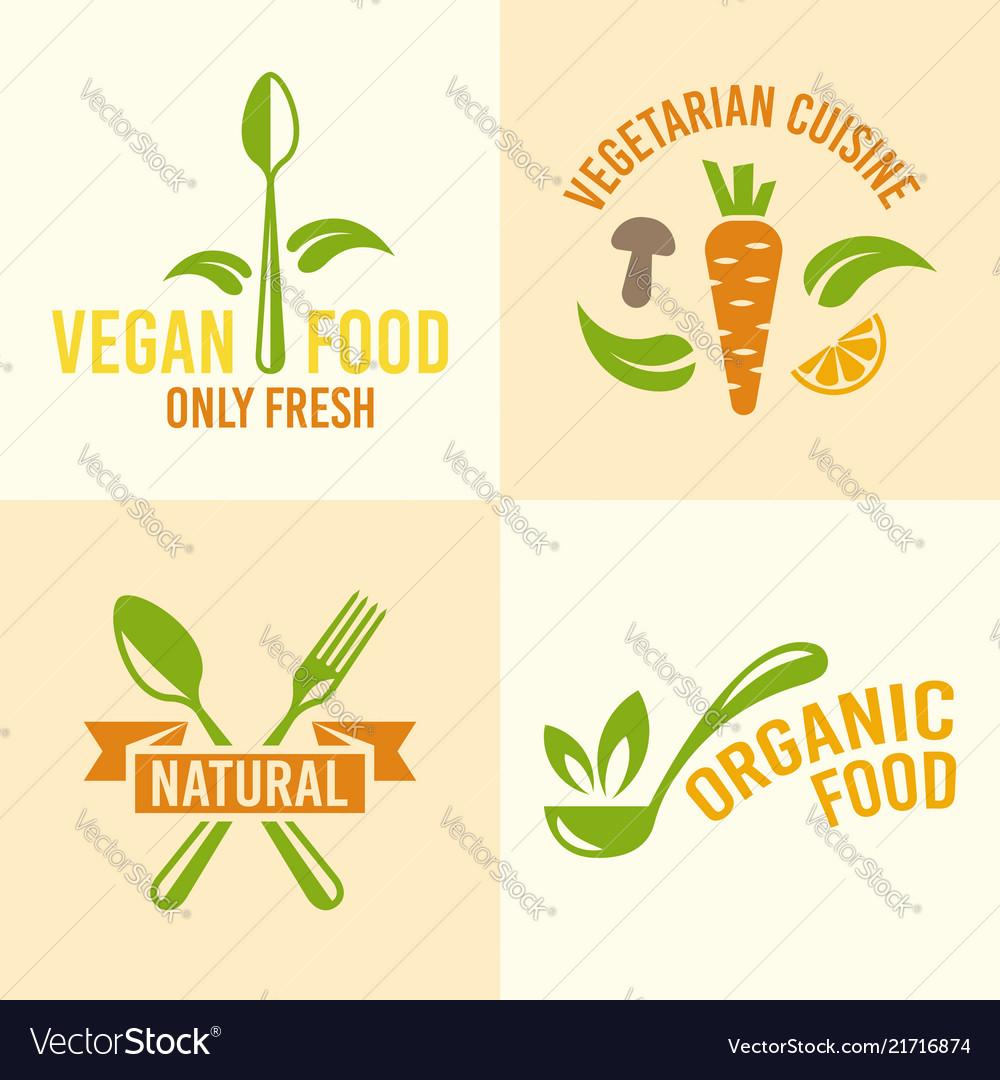 Vegetarian food or restaurant menu design elements