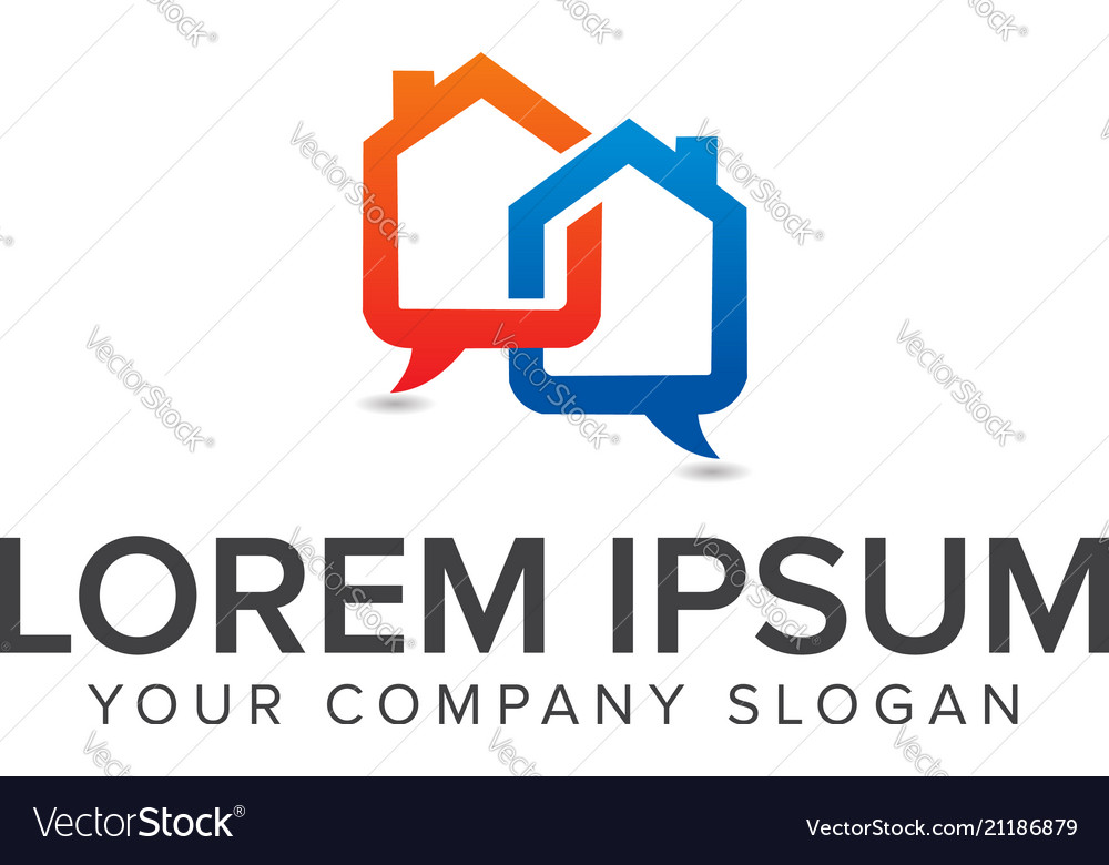 Chat house icon logo design concept template