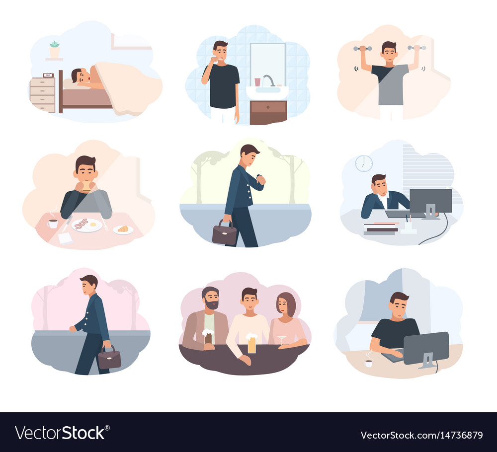 Concept everyday routine set of images schedule vector image