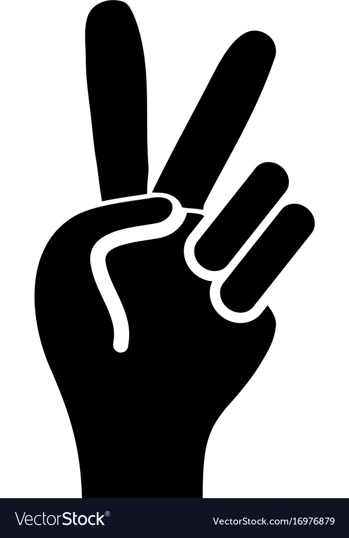 Contour Nice Hand With Peace And Love Symbol Vector Image