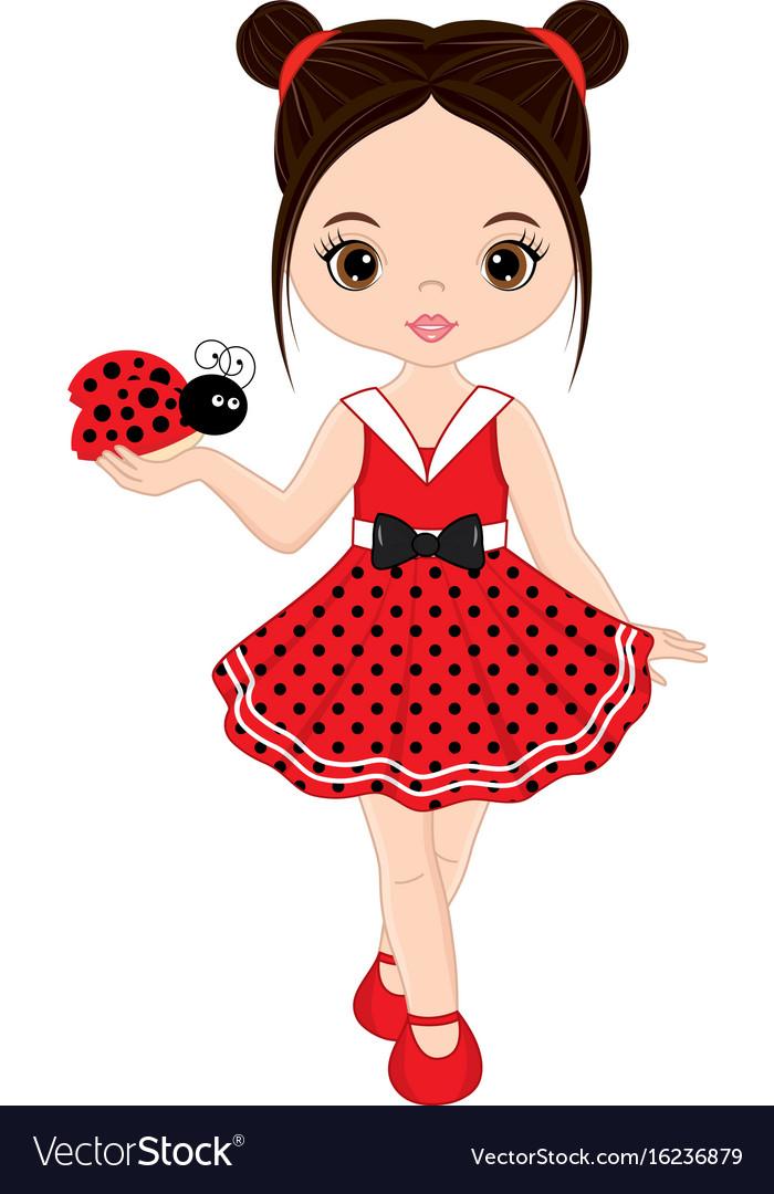 Cute little girl with ladybug