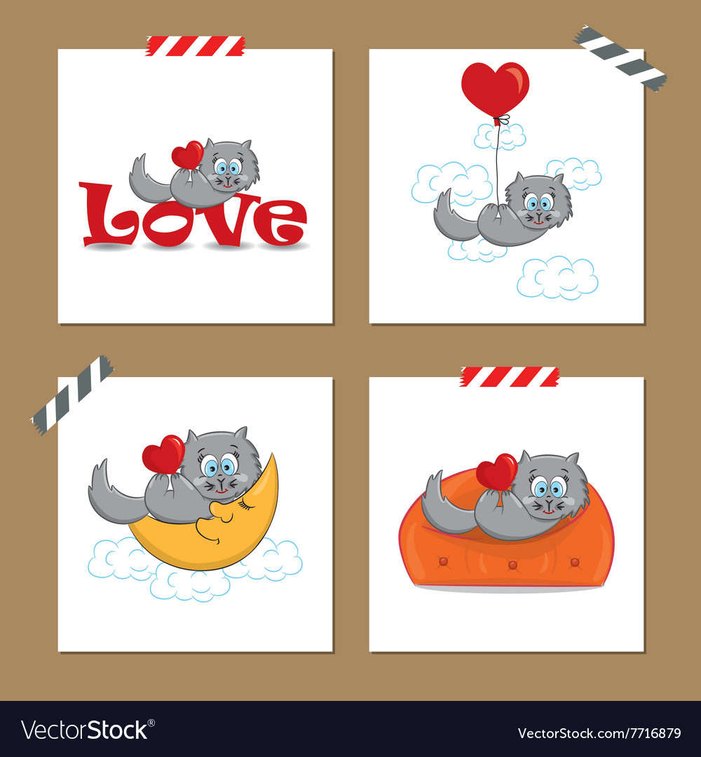 Cute Valentines day cards with funny cat