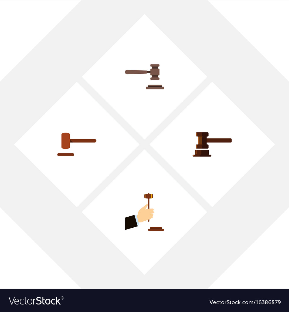 Flat icon hammer set of law defense government vector image