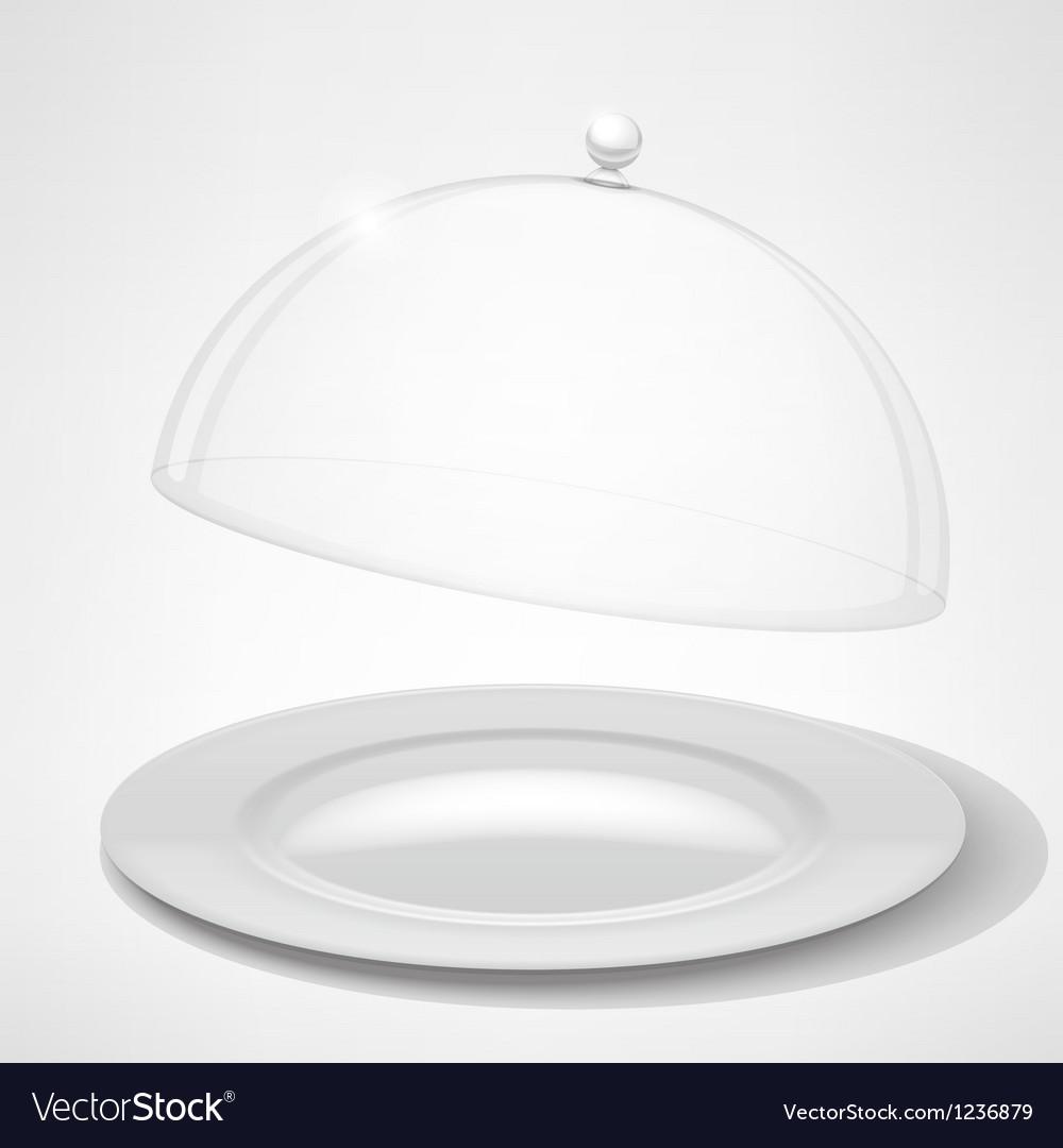 Food tray restaurant cloche vector image