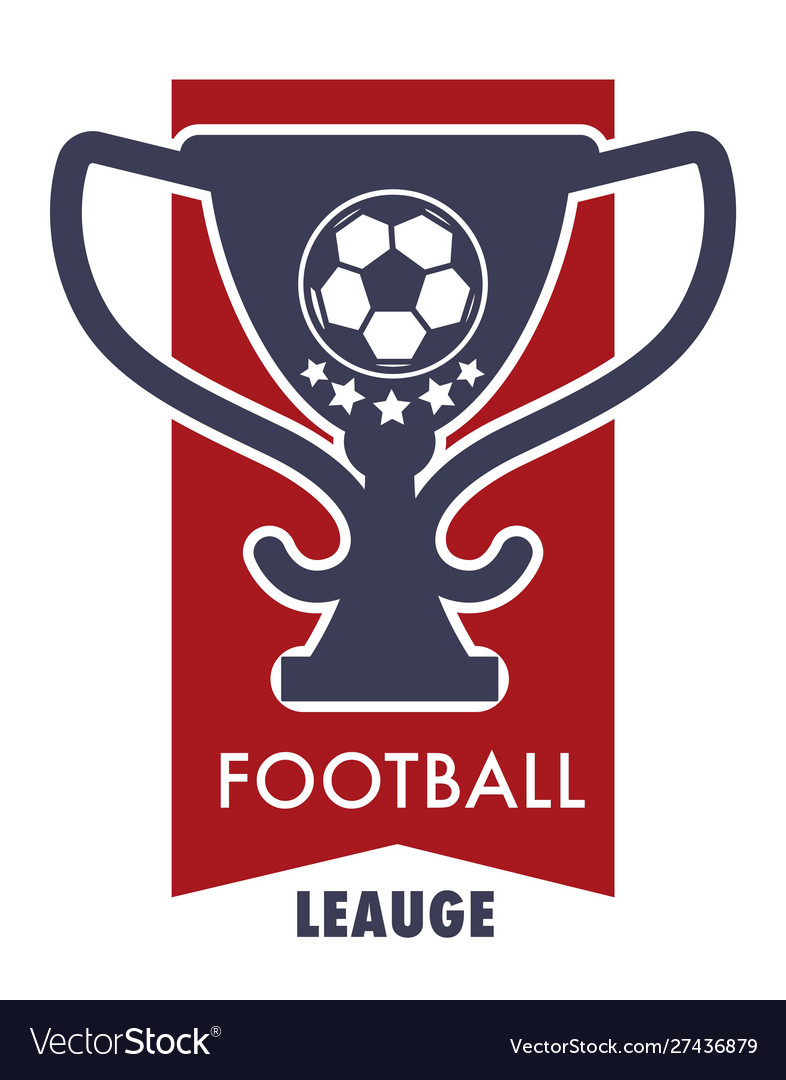 Football league logo with victory cup and soccer