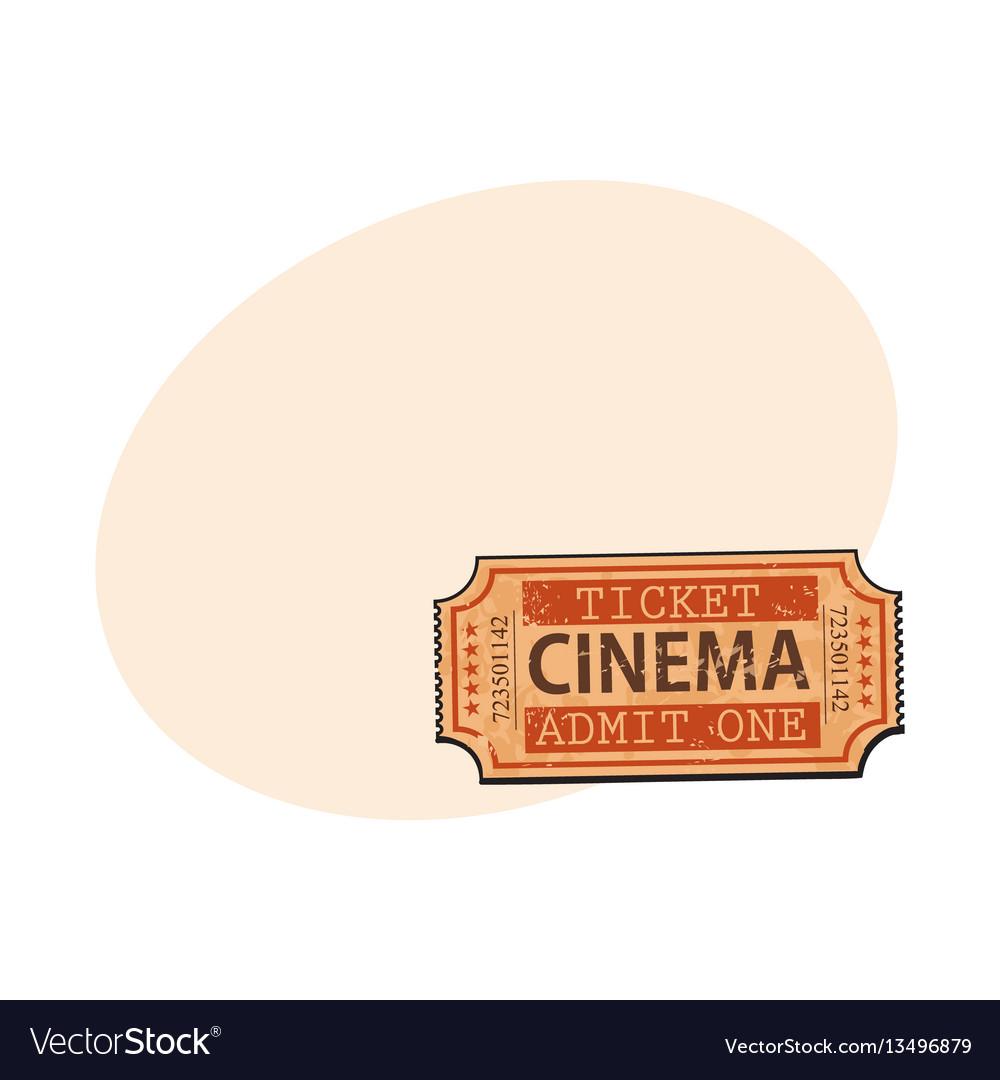 One retro style vintage cinema movie ticket