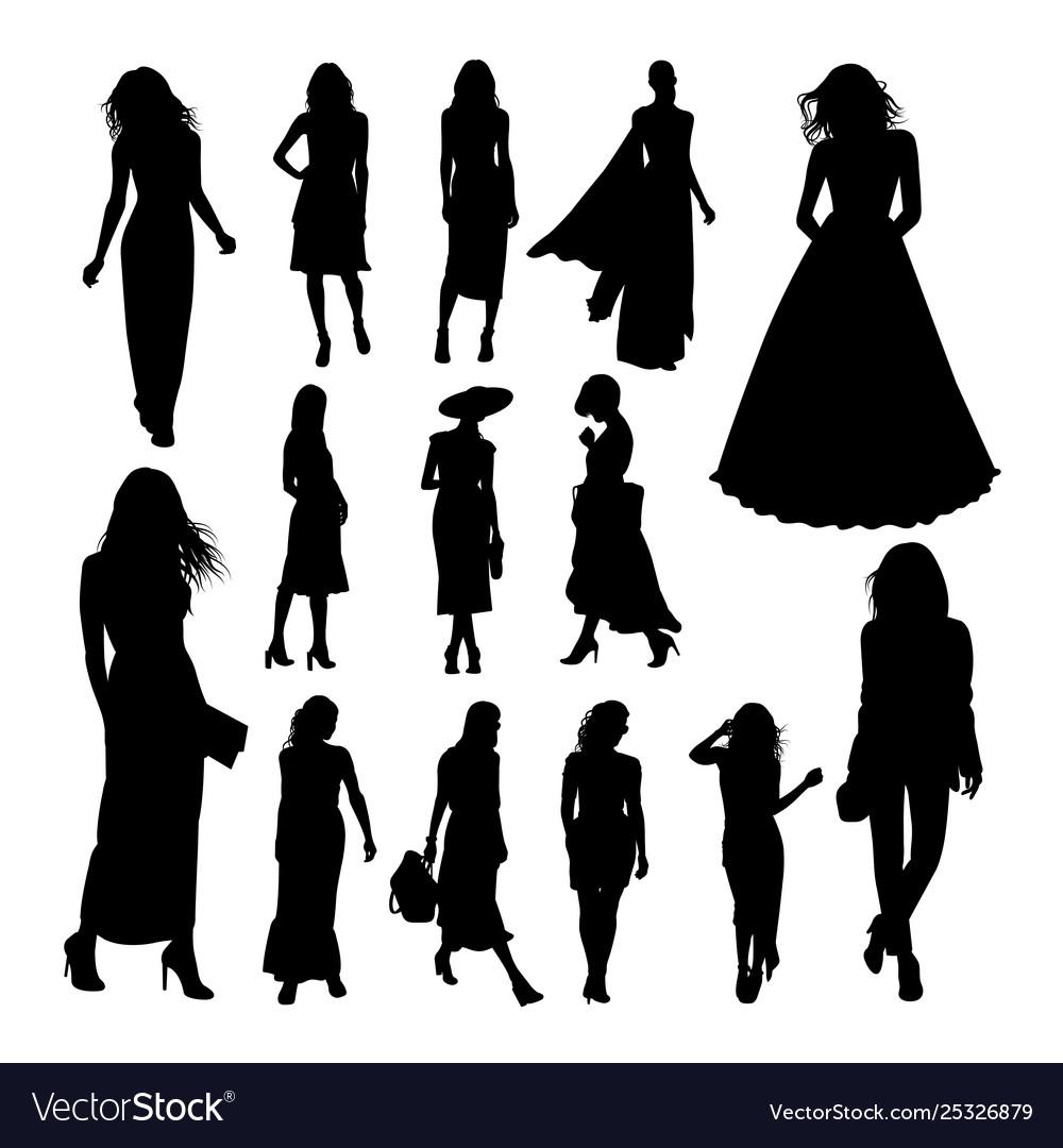 Pretty woman silhouettes