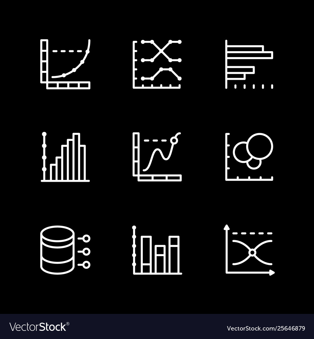 Set line icons graph and diagram