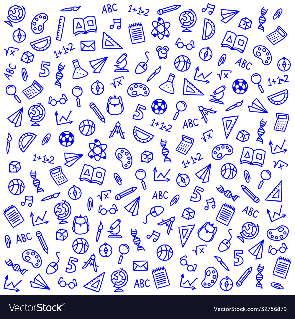 Sketch icons on a school theme on a blue