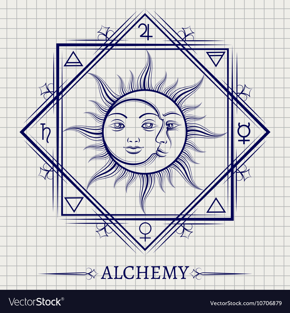 Sketch of sun moon and elements