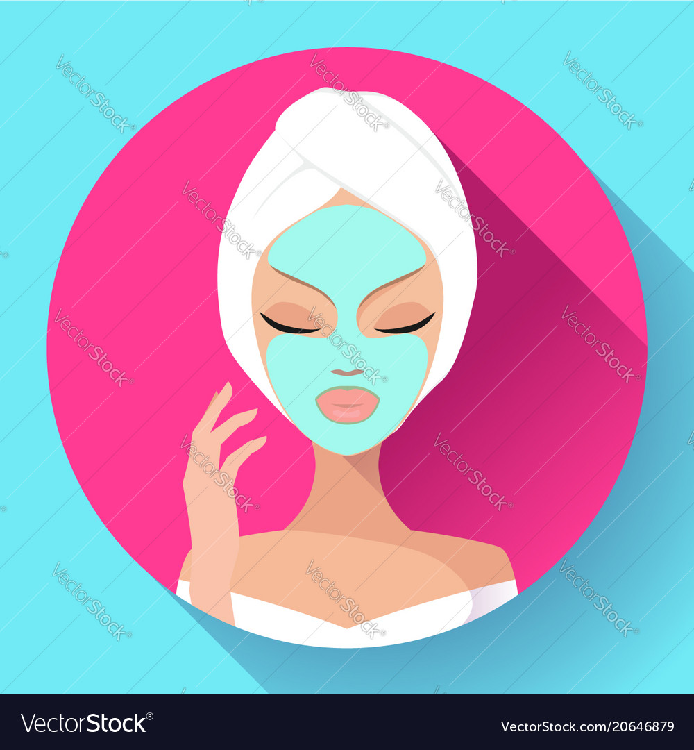 Spa woman applying facial cleansing mask beauty