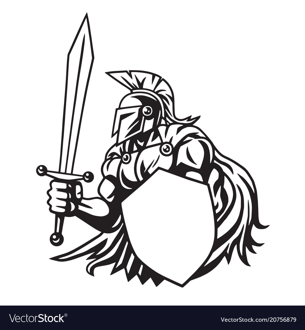 Spartan warrior drawing vector image