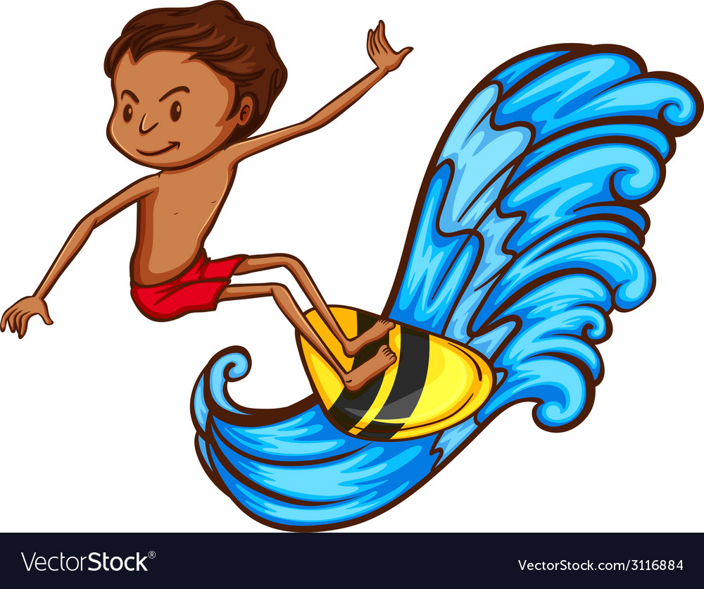 A coloured sketch of a boy doing watersport vector image