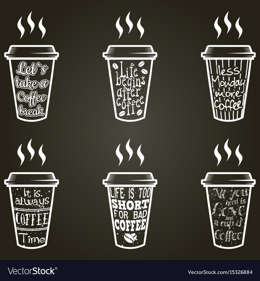Coffee Quotes Coffee quotes and sayings typography set Vector Image Coffee Quotes