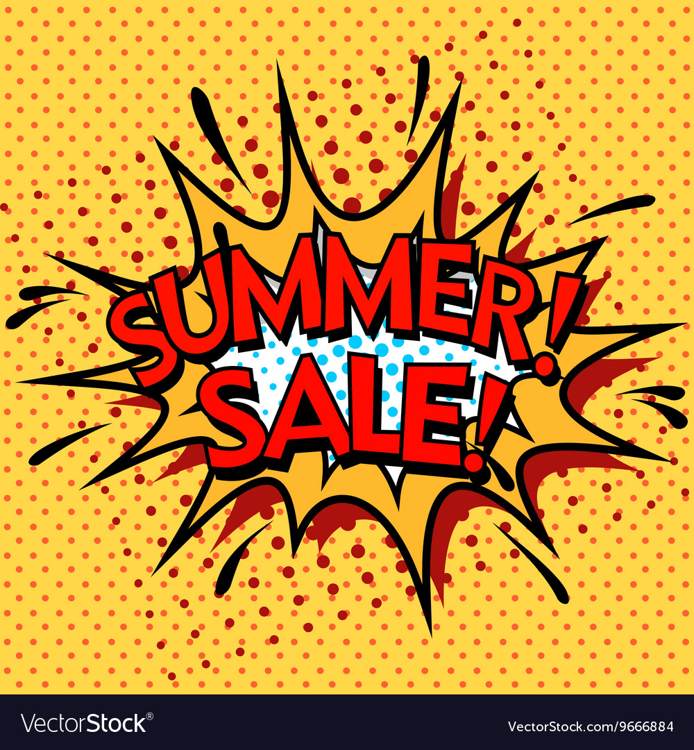 Color summer sale banner Pop art comic book