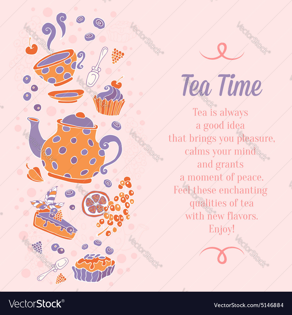 Elegant set of hand drawn tea and cakes banners