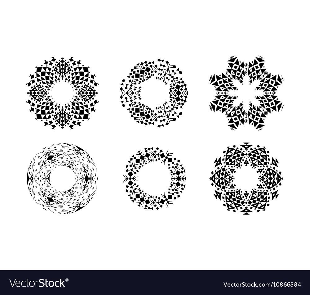 Ethnic ornamental cirular frames set