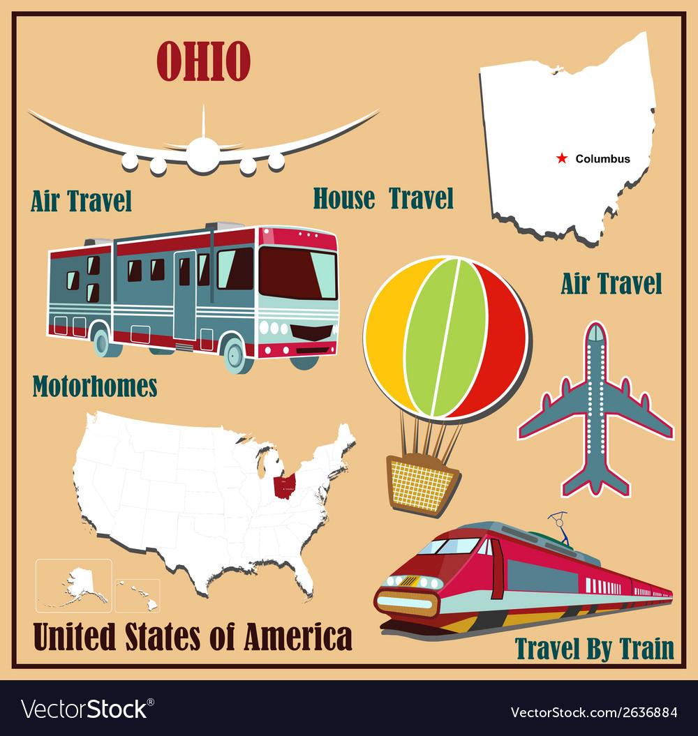 Flat map of Ohio vector image