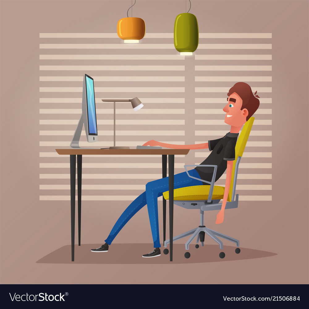 Funny business character working