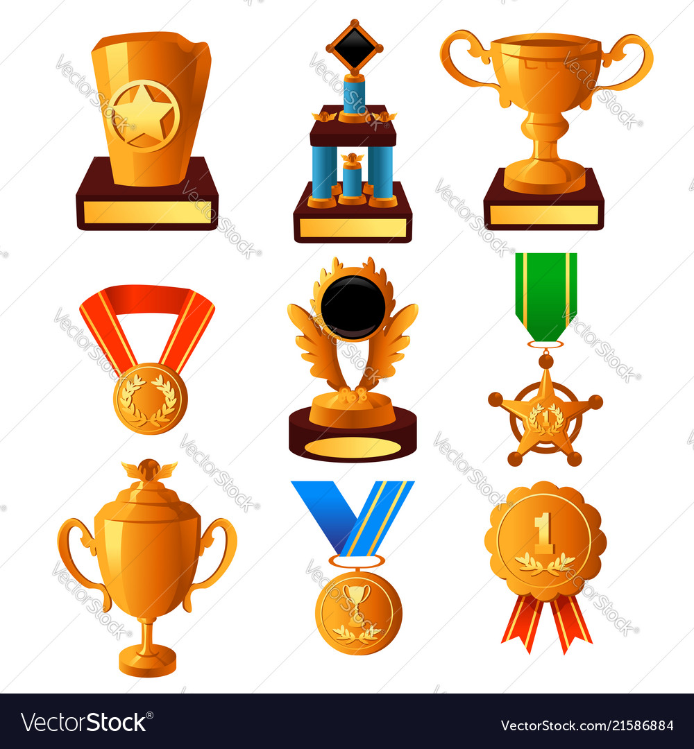 Gold medal and trophy icons