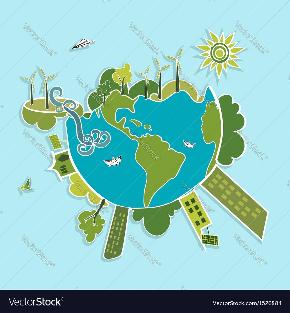 Green World ecologic elements vector image