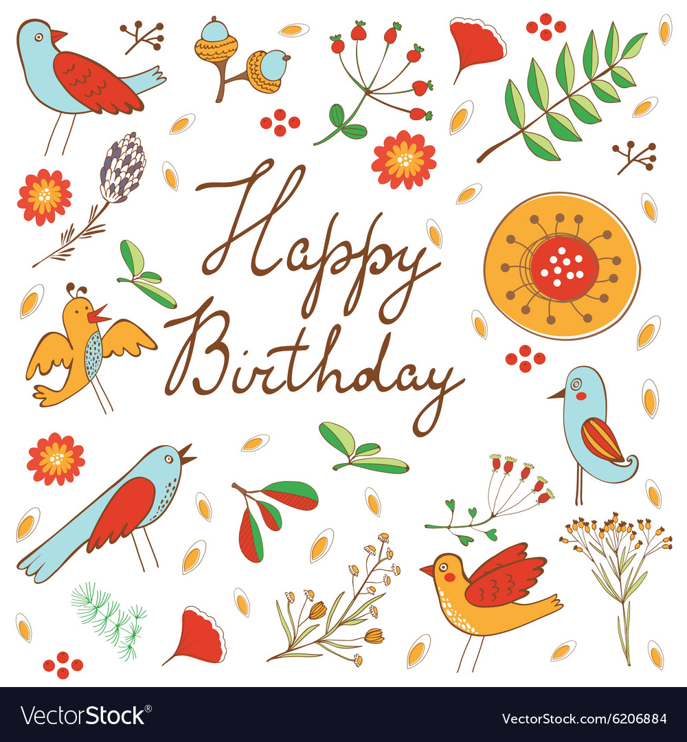 Happy birthday card with flowers and birds vector image izmirmasajfo