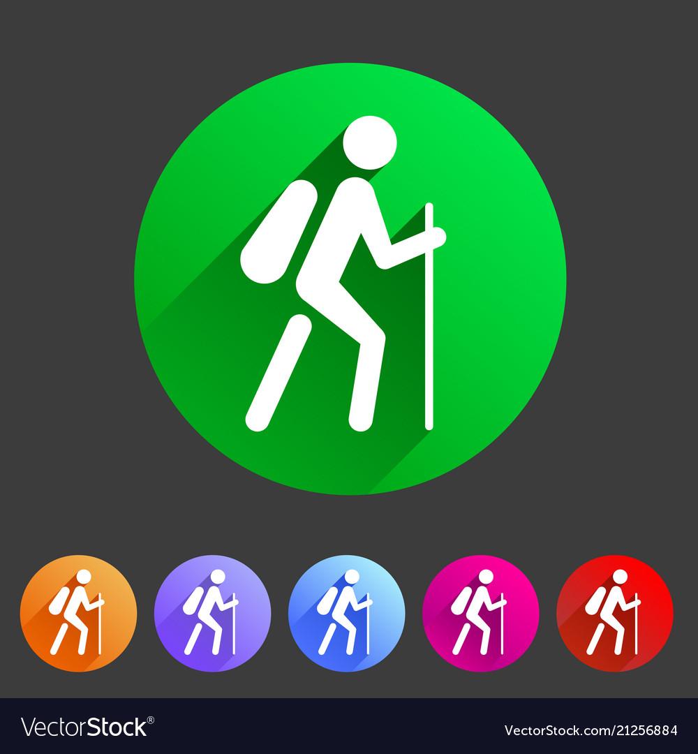 Hiking treking icon icon flat web sign symbol logo
