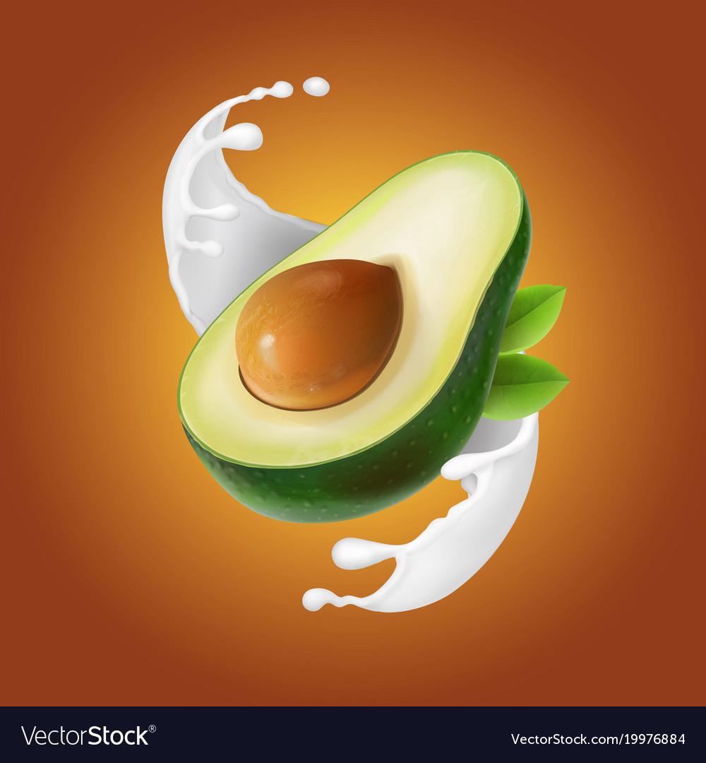 Milk splash with avocado fruit