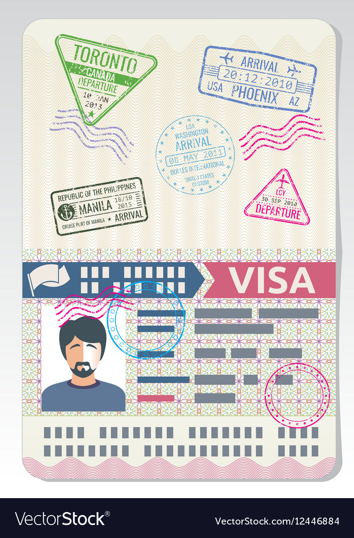 Open custom passport with visa stamps business
