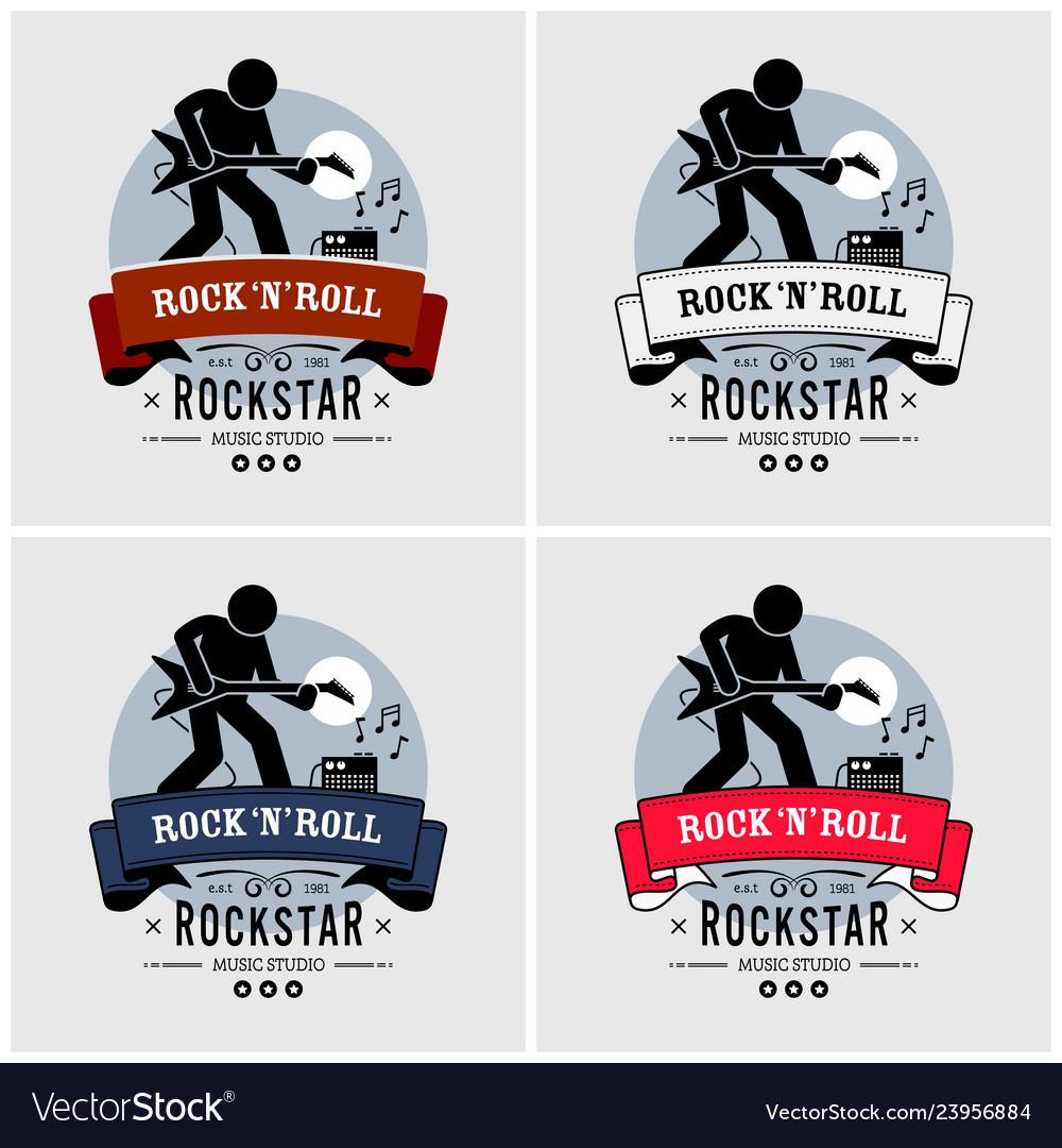 Rock and roll logo design artwork a rock star