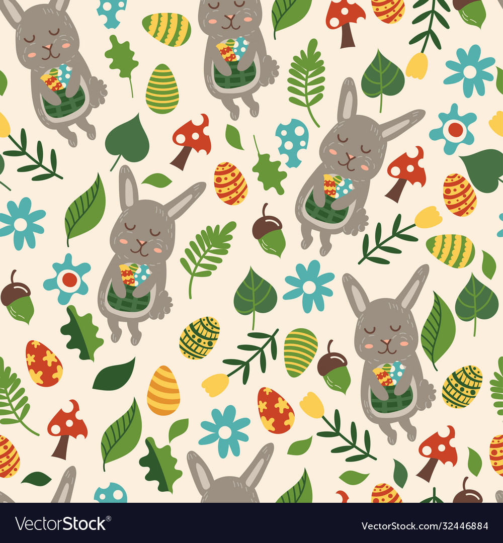 Seamless pattern for easter theme with cute