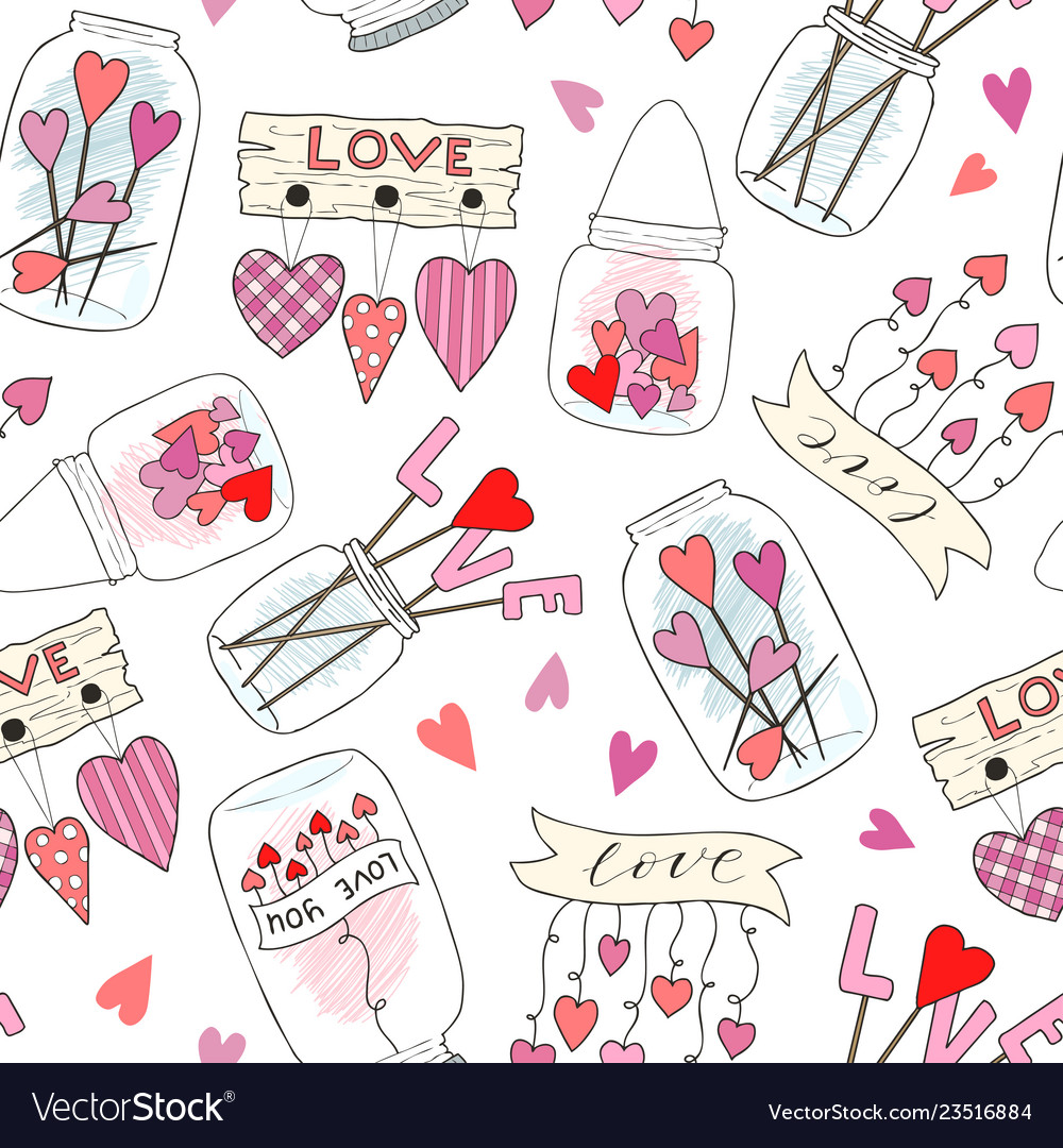 Seamless pattern with cute jam jar perfect for