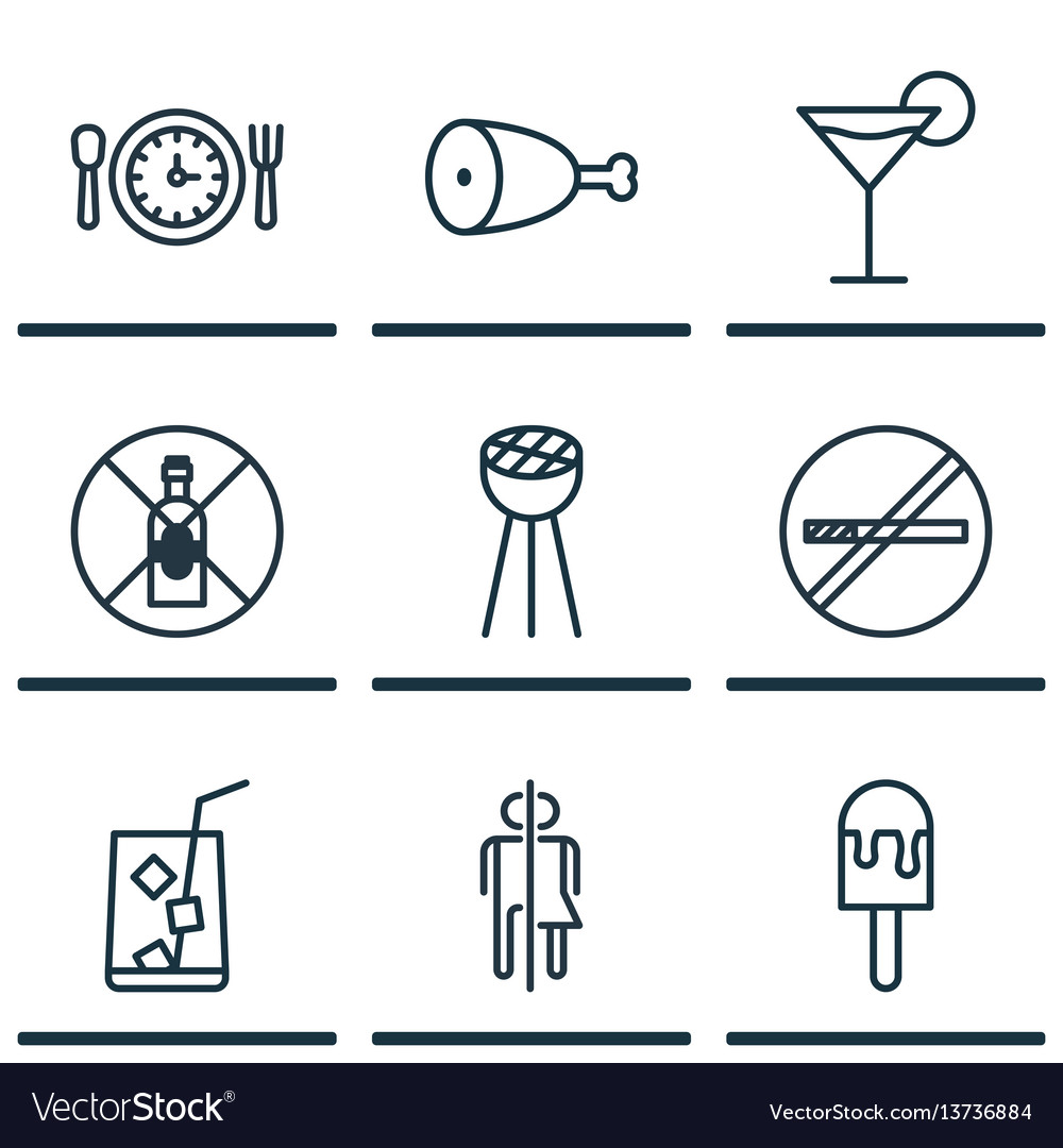 Set of 9 food icons includes no drinking stop