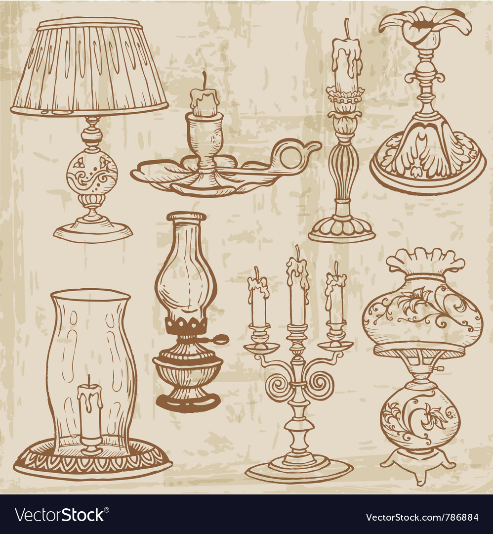 Set of vintage lamps and candles