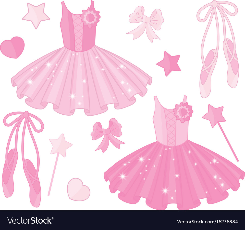Set with ballet shoes and tutu dresses